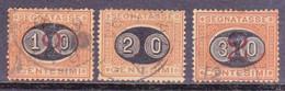 ITALIE - 1890 - YVERT N°22/24 OBLITERES - TAXE - COTE = 57 EUROS - 1878-00 Humbert I.