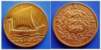 ESTONIA - 1 Kroon 1934 - SHIP OF VIKINGS - Estonie
