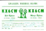 CARTE QSL CARD 1958 RADIOAMATEUR RADIO MARSHALL ISLANDS KX6 KWAJALEIN - Marshall Islands