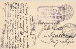 Flamme Des Ecoles Militaires De Colombier Sur Carte Postale Oblitérée Le 5.XI.1913 à Destination De MURIAUX - Documents