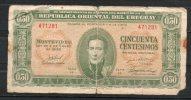 20- URUGUAY -1939 Billetes Emitidos  De 1939 A 1966 De  0.50 Peso Term. 281-Serie  H  (Ver Foto) - Uruguay