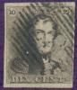 N°1 - Epaulette 10 Centimes Brune, Marges Maxima Et Obl. P.83 MONS Finement Apposée.  Superbe  - 7350 - 1849 Epaulettes