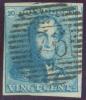 N°2 - Epaulette 20 Centimes Bleu-CLAIR, TB Margée Et Obl. P.76 LOUVAIN Centrale Et Droite;  Effigie Dégagée.  - 7359 - 1849 Epaulettes