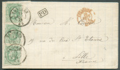 N°30(3) - 10 Centimes Verts En Bande De 3, Obl. Dc TONGRES S/L. Du 19 Sept. 1874 Vers Lille.  Superbe  - 7363 - 1869-1883 Leopold II