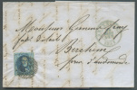 N°4 - Médaillon 20 Centimes Bleu, Margé, Obl; P.24 S/L. De BRUXELLES Le 24 Mars 1851 Vers Berchem - 7374 - 1849-1850 Médaillons (3/5)