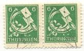 1945 Thüringen Freimarken 6 Pf Paar Mi 95 AX Ax / Sc 15N4 / YT 12 Gepr. / Signed Gestempelt/used/oblitere - Zone Soviétique