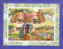CARD PRINT Of  ENGLISH COTTAGE And FLOWER GARDEN     For FRAMING Or CRAFTS DECOUPAGE LOISIRS HOBBY - Oude Documenten