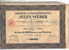 ANCIENS ETABLISSEMENTS JULES WEBER - ACTION DE 500 FRS AU PORTEUR N° 007326 - Actions & Titres