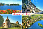 Souvenir De ROLLE - Débarcadère Et Île De La Harpe / Grand Rue / Château / Vue Aérienne - TBE, Carte Neuve, 2 Scans - VD Vaud