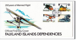 FALKLAND - 1983 -  ENVELOPPE FDC - THEME : AVIONS HELICOPTERES - Falkland