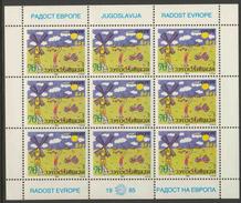 "Jugoslavija Yugoslavia 1985 Mi 2127 YT 2006 Sheet / Klb ** ""Joy Of Europe"" Meeting, Belgrade - Children's Painting - 1945-1992 Socialistische Federale Republiek Joegoslavië"