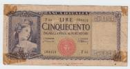 Italy 500 Lire 1947 VG+ Banknote P 80a  80 A - [ 1] …-1946 : Koninkrijk