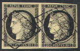 # France    3a, Pair, Used, 1XF& 1 F-VF, Sound, Clean (fr003a-6  Michel 3x    [16-ACE - 1849-1850 Ceres