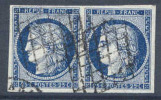 # France    6a, VF, Hor.  Pair, Used,  (fr006a-8,  Michel 4b   [16-IT - 1849-1850 Ceres