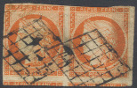 # France 7a, Used, Pair,Orange Vermillion, RARE, Sound (fr007a-1, Michel 5 [16-AATY - 1849-1850 Ceres