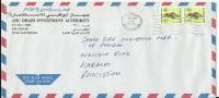UAE Airmail 1990 Falcon 50f Postal History Cover Sent From UAE To Pakistan - Abu Dhabi