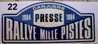 PLAQUE DE RALLYE EN METAL  CANJUERS  RALLYE MILLE PISTES   1984   PRESSE - Plaques De Rallye