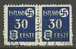 ESTLAND ESTONIA Estonie Dt. Okkupation 1941 Svastika 30 Pf Michel 3 Y In Pair O - Occupation 1938-45