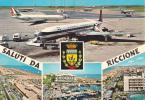 SALUTI DA RICCIONE - RIMINI - AEROPORTO -AEREI -FG - Rimini