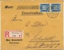 GERMANY 1926 REGISTERED COVER PFORZHEIM TO LOKSTEDT (HAMBURG). FRANKED WITH 20pf PAIR, PFORZHEIM CDS; LOKSTEDT BACKSTAMP - Duitsland