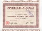 Papeterie De La Chapelle, Action Ordinaire De 7000 Francs Au Porteur - Actions & Titres
