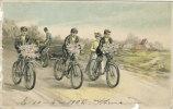 Carte Fantaisie - 3 Cyclistes  (vélo) Avec Bouquet De Fleurs + Jeune Femme + Auto  - En Relief     (1352) - Cyclisme