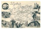 CARTE Géographique (Algérie) - CPSM - Multivue : Bougie, Djemila, Constantine, Timgad, Tebessa, Philippeville, Bone - Algérie
