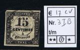 France Taxe Maury 3 I B,  Obl., 1859, 15 C Noir, Cote € 17