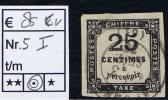 France Taxe Maury  5 I,  Obl., 1859, 25  C Noir, Cote € 85