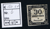 France Taxe Maury  6,  Obl., 1859, 30  C Noir, Cote € 150,