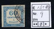 France Taxe Maury  9,  Obl., 1859, 60  C Bleu, Cote € 165,