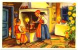 Broom Signed Elf Watching Family God Jul Och Gott Nytt Ar Mini Postcard - Altri