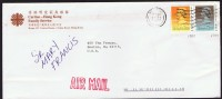 1992     Air Mail Letter To USA   $1.80,  $0.50    (both Dated 1989) - Hong Kong (...-1997)