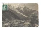 Cp, 74, Chamonix, Vue Générale De Chamonix Et De Mont Blanc Avec Glacier Des Bossons, Voyagée 1910 - Chamonix-Mont-Blanc