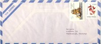 1991 Argentina Airmail Cover Sent To Honduras With 2 Nice Stamps, Ships & Flowers Both Never Cancelled - Argentina