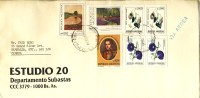 1991 Argentina Airmail Cover With 7 Nice Stamps, Paintings Etc. - Argentina