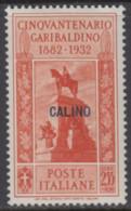 EGEO - CALIMNO - GARIBALDI N. 25 - Cv 60 Euro - GOMMA INTEGRA - MNH** - LUXUS POSTFRISCH - Egeo (Calino)