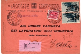 """Eritrea-Italy, Treviso Registered / Raccomandata """"Partito Nazionale Fascista"""" Printed Official Cover 1939 - Eritrea"""