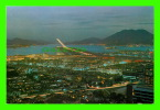 HONG KONG, CHINA - NIGHT VIEW OF KAI TAK AIRPORT WITH ITS MODERN RUNWAY ILLUMINATE - - Chine (Hong Kong)