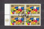 NATIONS  UNIES  VIENNE BLOC DE 4  1979/80   N° 7     OBLITERE    CATALOGUE YVERT - Centre International De Vienne