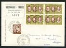 1964: Reco-Brief 4er-Block MiNr. 1366 -Zollaufkleber Rückseitig- - Briefe U. Dokumente
