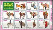 2311 ✅ War Militaria Uniforme Horses 1972 Manama Sheet MNH ** 8,5ME - Militares