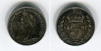 [9948] Angleterre : Three Pence 1897 Argent (légèrement Voilée) - 1902-1971 : Monedas Post-Victorianas