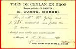 """"""" Thés De Ceylan En Gros"""" Marque M. Rogivue, H. Comte, Morges Et Orient 16.VI.1909 - Alimentation"""