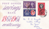 First Day Cover - Commemorative - Great Britain - Post Office Savings Bank 1961 - 1952-1971 Em. Prédécimales