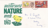 First Day Cover - Commemorative - Great Britain - National Nature Week 1963 - 1952-1971 Em. Prédécimales