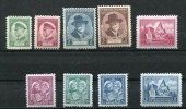 Czechoslovakia 1935 Mi 332-341 Complet Year (-1 Stamp) MH - Unused Stamps