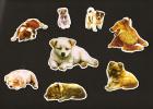 LOT De 6 Chromos Decoupis à Paillettes - Chiens  Chiots  Dog  - - Animals