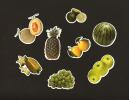 LOT De 8 Chromos Decoupis à Paillettes - Fruits  Vert - Raisin Pasteque Pomme Ananas Melon Citron Vert - After 1965