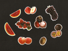 LOT De 8 Chromos Decoupis à Paillettes - Fruits  Rouge - Pastèque Fraise Pomme Grenade Raisin - After 1965